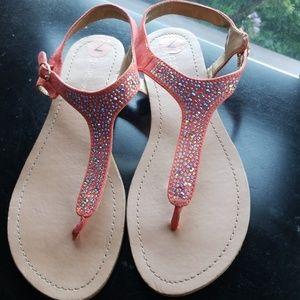 Bcbgeneration orange rhinestone sandals